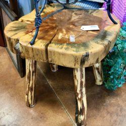 Rustic Log Side Table