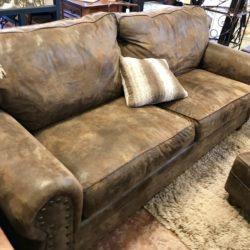 Rustic Leather Look Sofa