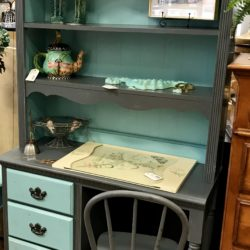 Vintage Painted Desk with Hutch