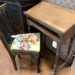Vintage School Desk & Needlepoint Chair