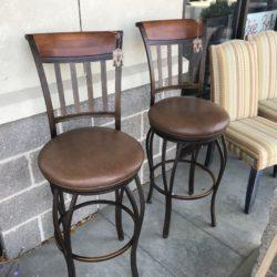 Set of 2 Wood & Iron Bar Stools