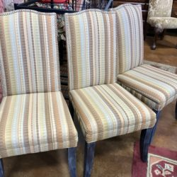 Set of 6 Striped Dining Chairs