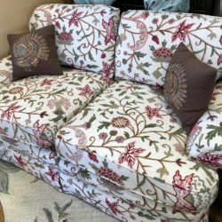 Crewel Embroidered Floral Love Seat