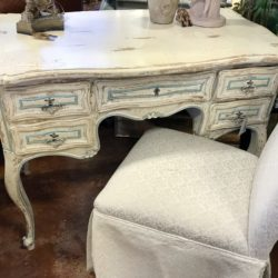 Vintage Painted Desk with Blue Accents