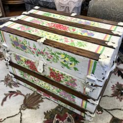Vintage Painted Chest with Quilted Interior
