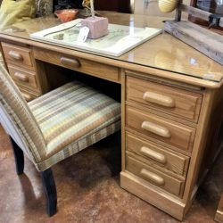 Oak Desk with Glass Top