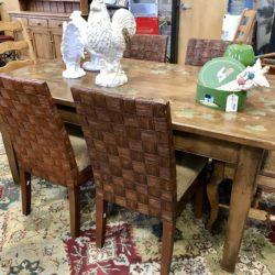 Rustic Farm Table with Painted Leaves & 4 Woven Back Palecek Dining Chairs (table and chairs sold separately)
