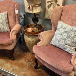 Pair of Salmon Color Wingback Chairs (sold separately)
