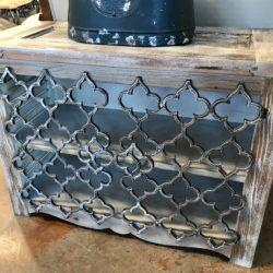 2 Shelf Cabinet with Quatrefoil Metal Doors