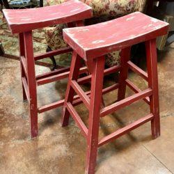 Distressed Red Saddle Seat Bar Stools
