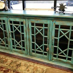 Large Turquoise 4 Door Cabinet