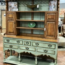 Drexel Heritage Distressed Green & Maple Farm Hutch