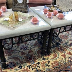 Concrete Look End Tables on Metal Base (Matching Coffee Table Available)