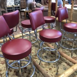 Set of 4 Retro Style Red Faux Leather Swivel Bar Stools