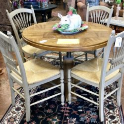 4 Rush Seat Dining Chairs (sold separately) Dining Table Sold.