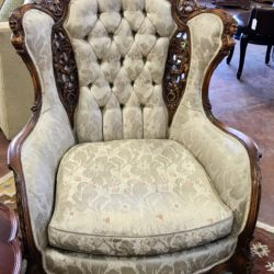Antique Carved Wood Tufted Accent Chair (2 available)