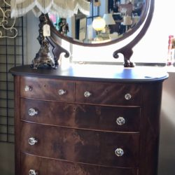 Antique Claw Footed Dresser with Beveled Mirror