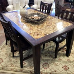 Pier 1 Wood & Tile Top Dining Table with 4 Chairs
