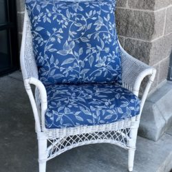 Whicker Chair with Blue Cushions