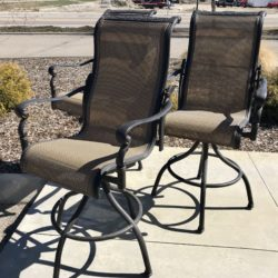 Set of 3 Swivel Bar Height Patio Stools