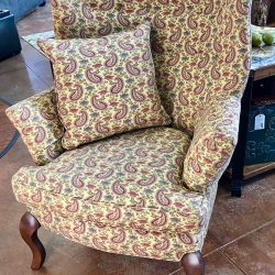 Custom Paisley Wingback Chair w/ 2 Down Filled Pillows - Needs Professional Cleaning