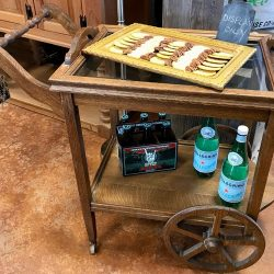 Vintage Oak Beverage Cart