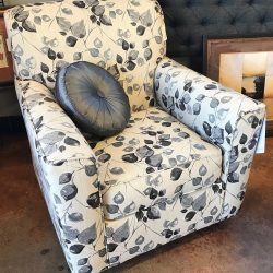 Brand NEW Gray & White Swivel Rocker with Leaf Design