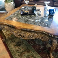 Drexel Heritage Carved Wood & Marble Coffee Table