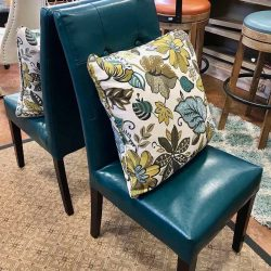 Pair of Faux Leather Aqua Dining Chairs