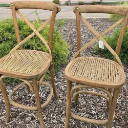 Pair of Bentwood Cane Seat Counter Stools