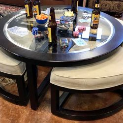 Round Coffee / Game Table with 4 Pull Out Stools