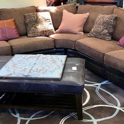 Leather & Fabric Sectional