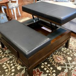 Leather Top Convertible Coffee Table