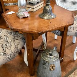 Rustic Wood 6 Sided Side Table