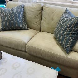 Sage Green Rustic Look Leather Love Seat