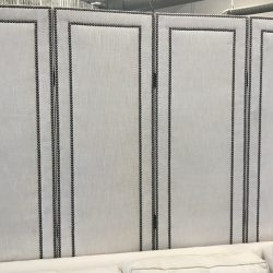 4 Panel Fabric Partition with Nailhead Detail