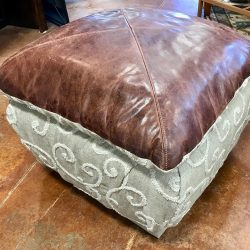 Leather Top Ottoman