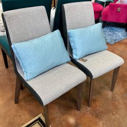 Set of 2 Gray Fabric Chairs