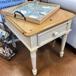 White End Table with Wood Colored Top