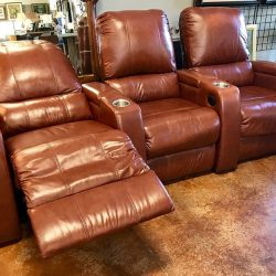 Power Reclining Leather Theater Seats