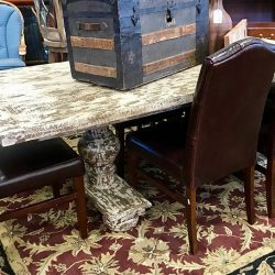 Reclaimed Wood Pedestal Dining Table - 6 Leather Tufted Chairs (priced separate from table)