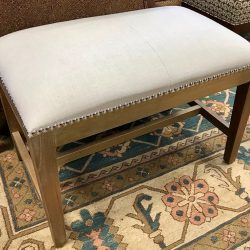 Cream Stool with Nailhead Detail