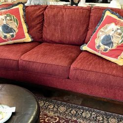 Contemporary Red Sofa with Attached Cushions